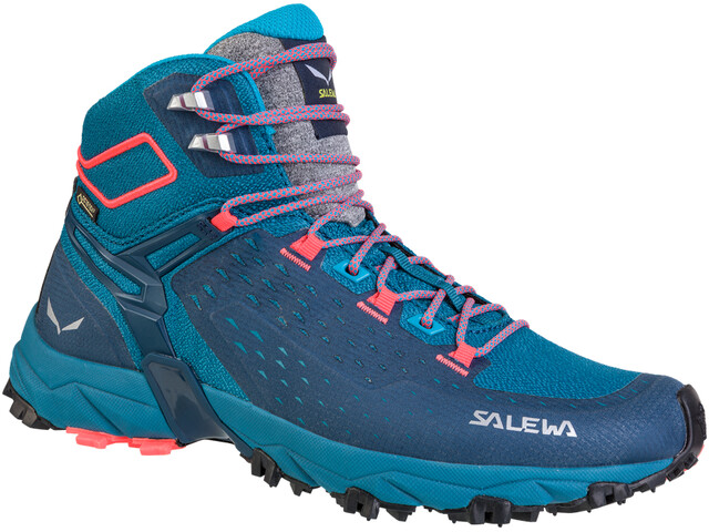 SALEWA Alpenrose Ultra Mid GTX Chaussures Femme, blue sapphire/fluo coral